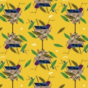 Indigo Bunting Organic fabric by Charley Harper for Birch Fabrics sold by Online Canadian Fabric Store Woven Modern Fabric Gallery