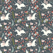 Enchanted Unicorns in Dusk Organic Cotton by Birch Fabrics sold by Online Canadian Fabric Store Woven Modern Fabric Gallery