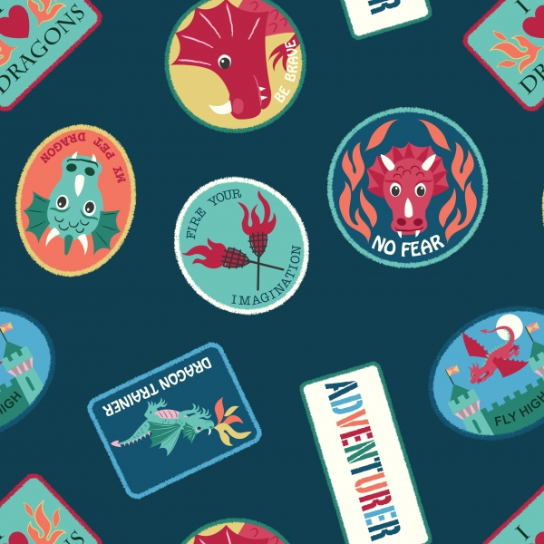 Dragon Patches by Lewis & Irene sold by Online Canadian Fabric Store Woven Modern Fabric Gallery