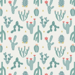 Desert Blue Cactus by Lewis & Irene sold by Online Canadian Fabric Store Woven Modern Fabric Gallery