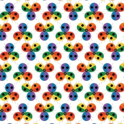 Ladybug Rainbow Organic fabric by Charley Harper for Birch Fabrics sold by Online Canadian Fabric Store Woven Modern Fabric Gallery