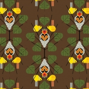 Family Circle Organic fabric by Charley Harper for Birch Fabrics sold by Online Canadian Fabric Store Woven Modern Fabric Gallery