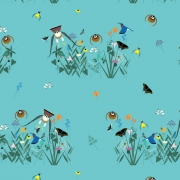Small Field of Birds Organic cotton fabric by Charley Harper for Birch Fabrics sold by Online Canadian Fabric Store Woven Modern Fabric Gallery