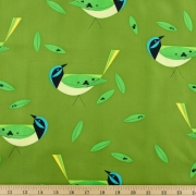 Green Jay Organic by Charley Harper Western Birds for Birch Fabrics sold by Online Canadian Fabric Store Woven Modern Fabric Gallery