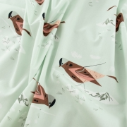 Grey Crowned Rosy Finch Organic by Charley Harper for Birch Fabrics sold by Online Canadian Fabric Store Woven Modern Fabric Gallery