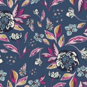 Enchanted Flora Ablue by Maureen Cracknell for Art Gallery Fabrics sold by Online Canadian Fabric Store Woven Modern Fabric Gallery