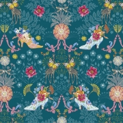 Royal Expedition teal fabric by Odile Bailloeul for Free Spirit fabrics sold by Online Canadian Fabric Store Woven Modern Fabric Gallery