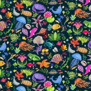Ocean finds fabric from Dear Stella  Fabrics sold by Online Canadian Fabric Store Woven Modern Fabric Gallery