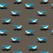 Mountain Blue Bird Organic by Charley Harper for Birch Fabrics sold by Online Canadian Fabric Store Woven Modern Fabric Gallery