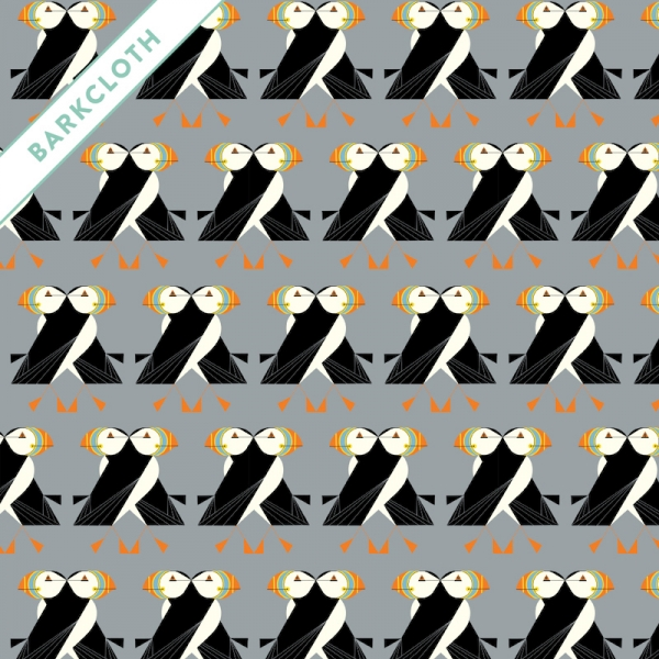 Puffins Organic barkcloth fabric by Charley Harper for Birch Fabrics sold by Online Canadian Fabric Store Woven Modern Fabric Gallery