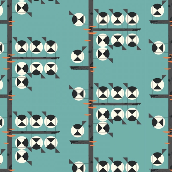 Family of Chickadees Organic fabric by Charley Harper for Birch Fabrics sold by Online Canadian Fabric Store Woven Modern Fabric Gallery