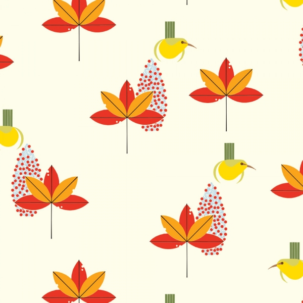 Amakihi Organic fabric by Charley Harper for Birch Fabrics sold by Online Canadian Fabric Store Woven Modern Fabric Gallery
