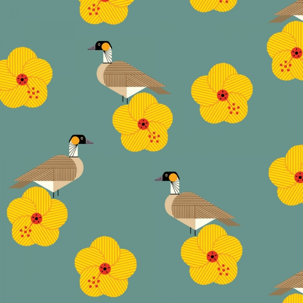 Nene Organic fabric by Charley Harper for Birch Fabrics sold by Online Canadian Fabric Store Woven Modern Fabric Gallery