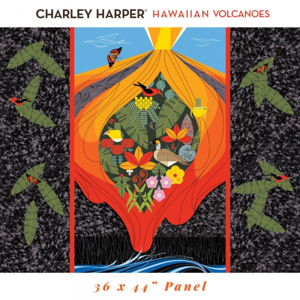 Hawaiian Volcanoes Panel  Organic by Charley Harper for Birch Fabrics sold by Online Canadian Fabric Store Woven Modern Fabric Gallery