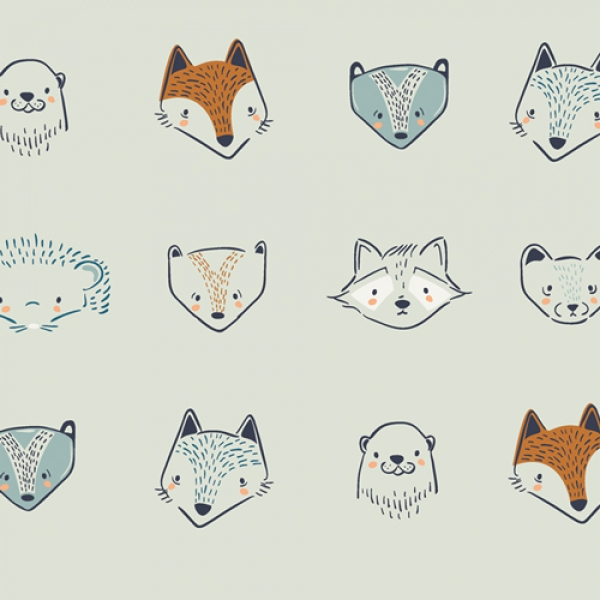 Furries from Little Forester by Art Gallery Fabrics sold by Online Canadian Fabric Store Woven Modern Fabric Gallery