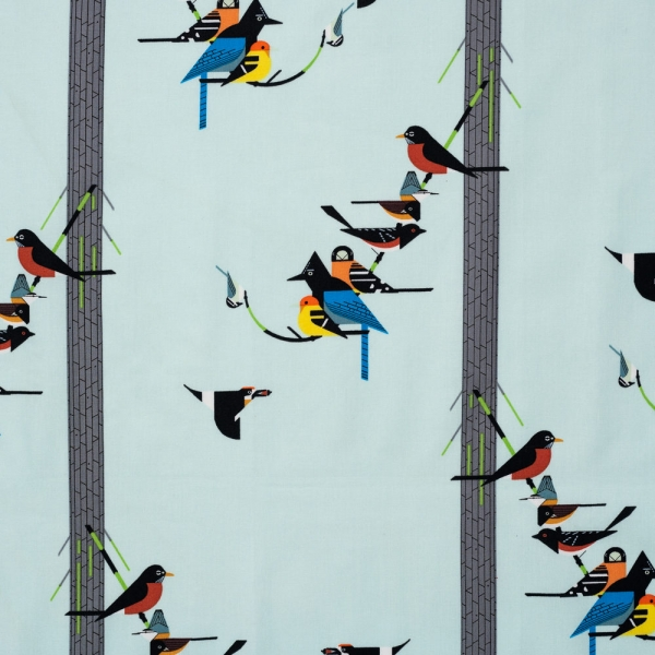 Birds on Pine Organic by Charley Harper for Birch Fabrics sold by Online Canadian Fabric Store Woven Modern Fabric Gallery