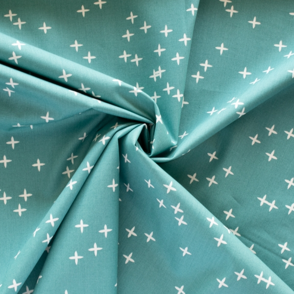 Wink Teal organic fabric form Birch Fabrics sold by Online Canadian Fabric Store Woven Modern Fabric Gallery