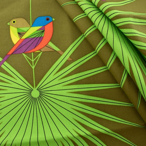 Organic Canvas Flamboyant Feathers  by Charley Harper for Birch Fabrics sold by Online Canadian Fabric Store Woven Modern Fabric Gallery