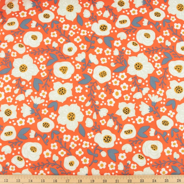 Bella organic cotton lawn Bright Coral from Birch Fabrics sold by Online Canadian Fabric Store Woven Modern Fabric Gallery