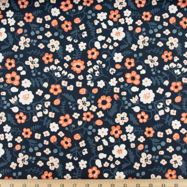 Bella organic cotton lawn Margot Midnight from Birch Fabrics sold by Online Canadian Fabric Store Woven Modern Fabric Gallery