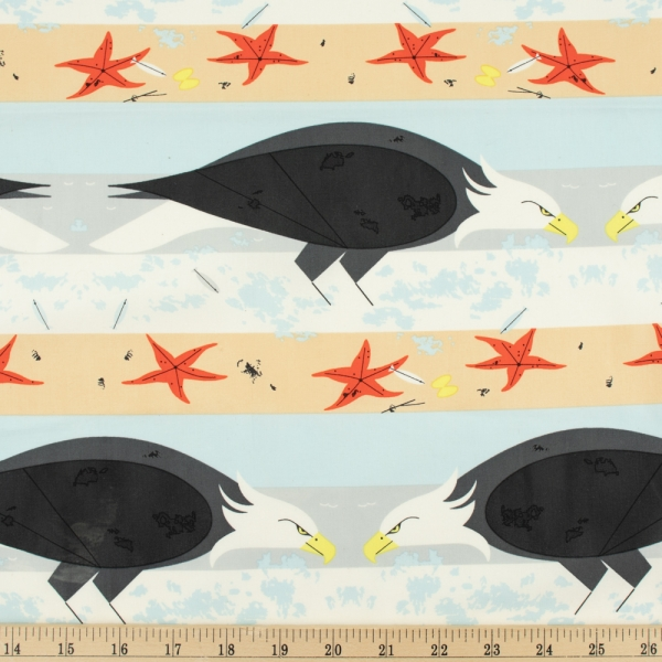 Coastal Eagle Organic fabric by Charley Harper for Birch Fabrics sold by Online Canadian Fabric Store Woven Modern Fabric Gallery