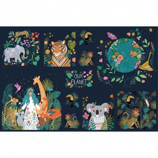 Our Planet Panel fabric from Dashwood Studios  sold by Online Canadian Fabric Store Woven Modern Fabric Gallery