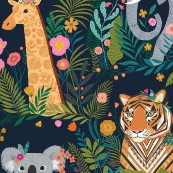 Our Planet Animals Night fabric from Dashwood Studios  sold by Online Canadian Fabric Store Woven Modern Fabric Gallery