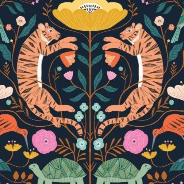 Our Planet Tiger Night fabric from Dashwood Studios  sold by Online Canadian Fabric Store Woven Modern Fabric Gallery