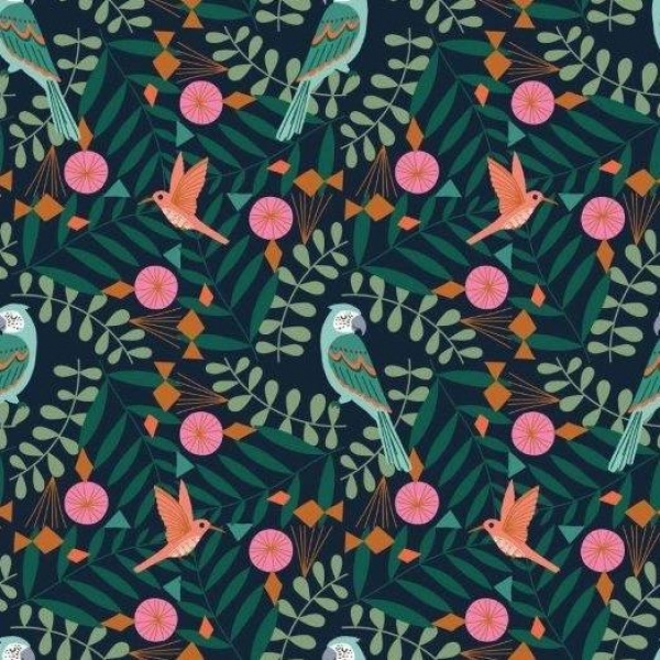 Our Planet Tropical Birds fabric from Dashwood Studios  sold by Online Canadian Fabric Store Woven Modern Fabric Gallery
