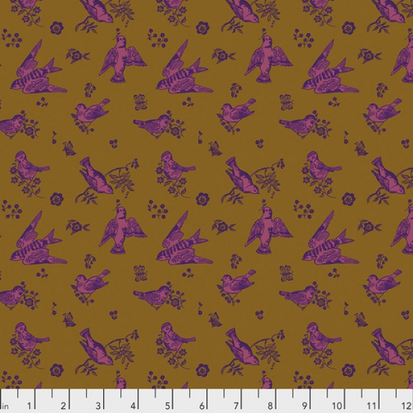 Birds & Love Gold by Nathalie Lete for Anna Maria's Conservatory sold by Online Canadian Fabric Store Woven Modern Fabric Gallery