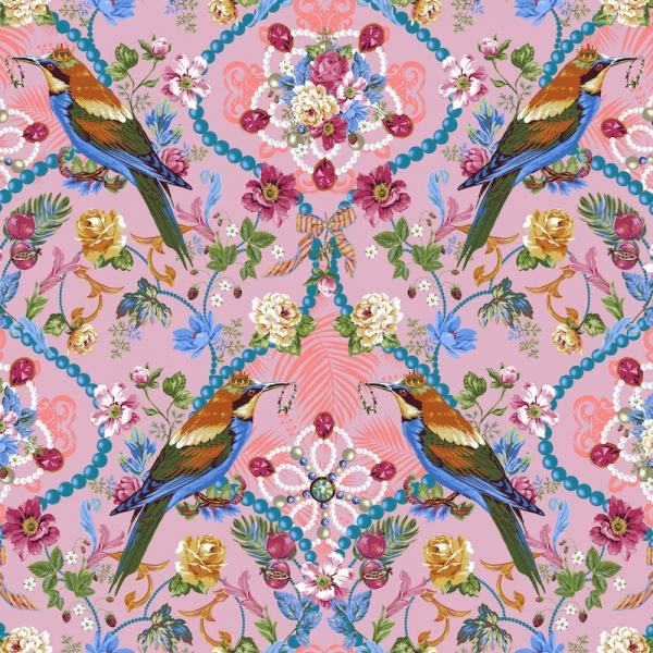 The Queens Jewels rose by Odile Bailloeul for Free Spirit fabrics sold by Online Canadian Fabric Store Woven Modern Fabric Gallery