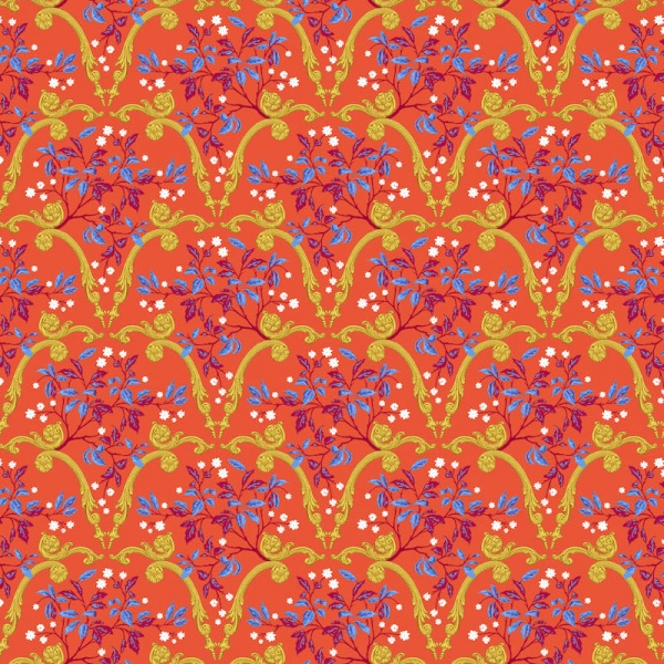 Palace Arcades hot fabric by Odile Bailloeul for Free Spirit fabrics sold by Online Canadian Fabric Store Woven Modern Fabric Gallery