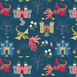 Dragon Castle  by Lewis & Irene sold by Online Canadian Fabric Store Woven Modern Fabric Gallery