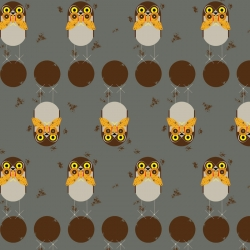 Burrowing Owl by Charley Harper organic fabric from Birch Fabrics sold by Online Canadian Fabric Store Woven Modern Fabric Gallery
