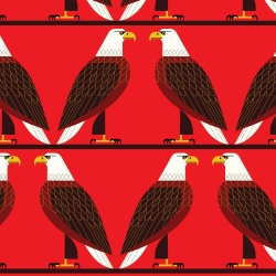 Bald Eagle Organic cotton fabric by Charley Harper for Birch Fabrics sold by Online Canadian Fabric Store Woven Modern Fabric Gallery