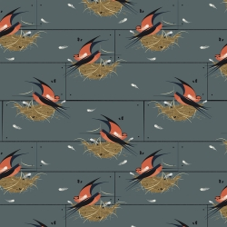 Barn Swallow Graphite Organic fabric by Charley Harper for Birch Fabrics sold by Online Canadian Fabric Store Woven Modern Fabric Gallery