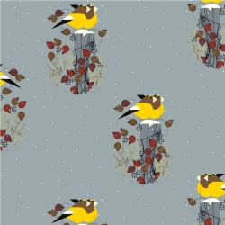 Evening Grosbeak  by Charley Harper for Birch Organic Fabrics sold by Online Canadian Fabric Store Woven Modern Fabric Gallery