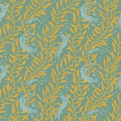 Otters Mid Blue Organic Fabric byMustard Beetle from Birch Fabrics sold by Online Canadian Fabric Store Woven Modern Fabric Gallery