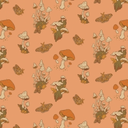 Mushrooms Peachy Organic Fabric byMustard Beetle from Birch Fabrics sold by Online Canadian Fabric Store Woven Modern Fabric Gallery