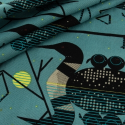 Organic Canvas Clair De Loon by Charley Harper organic fabric from Birch Fabrics sold by Online Canadian Fabric Store Woven Modern Fabric Gallery