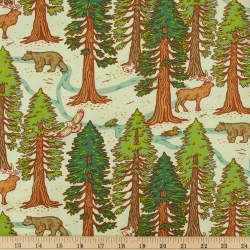 Redwoods Mint Organic Fabric byMustard Beetle from Birch Fabrics sold by Online Canadian Fabric Store Woven Modern Fabric Gallery