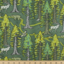 Redwoods Green Organic Fabric byMustard Beetle from Birch Fabrics sold by Online Canadian Fabric Store Woven Modern Fabric Gallery