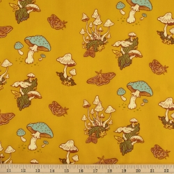 Mushrooms Mustard Organic Fabric byMustard Beetle from Birch Fabrics sold by Online Canadian Fabric Store Woven Modern Fabric Gallery