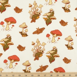 Mushrooms Cream Organic Fabric byMustard Beetle from Birch Fabrics sold by Online Canadian Fabric Store Woven Modern Fabric Gallery