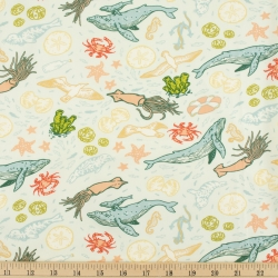 Marine Light Blue Organic Fabric by Mustard Beetle from Birch Fabrics sold by Online Canadian Fabric Store Woven Modern Fabric Gallery