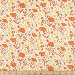 Poppies Cream Organic Fabric byMustard Beetle from Birch Fabrics sold by Online Canadian Fabric Store Woven Modern Fabric Gallery
