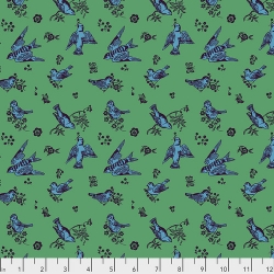 Birds & Love Jade by Nathalie Lete for Anna Maria's Conservatory sold by Online Canadian Fabric Store Woven Modern Fabric Gallery