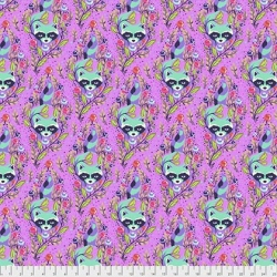 Racoon Fuchsia from Tula Pink's All Star collection  sold by Online Canadian Fabric Store Woven Modern Fabric Gallery