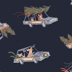 Animals in Cars from Let it Snow by Dear Stella sold by Online Canadian Fabric Store Woven Modern Fabric Gallery