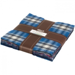 """Mammoth Flannel 10"""" charm squares  Blue fabric from Robert Kaufman Fabrics sold by Online Canadian Fabric Store Woven Modern Fabric Gallery"""